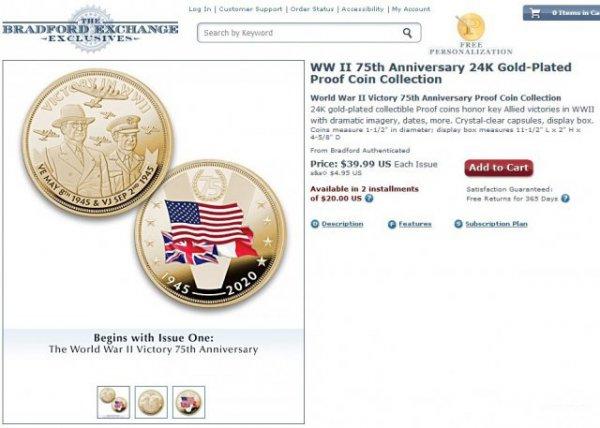 В США сделали юбилейную монету с изображениями стран-победителей во Второй мировой войне без СССР Всячина